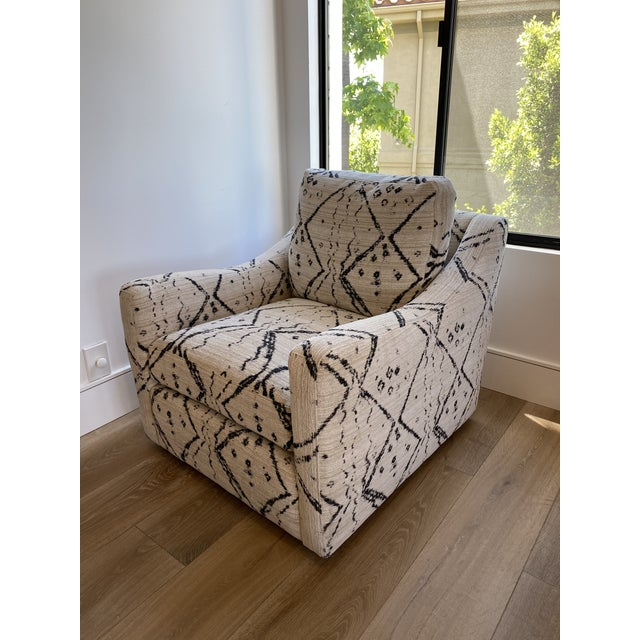 Tribal Black and White Upholstered Swivel Lounge Chair For Sale - Image 3 of 6