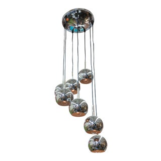 Mid-Century German 7 Orb Chrome Chandelier For Sale