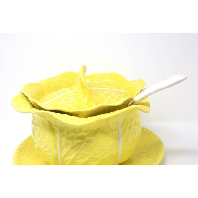 Ceramic Vintage Secla Yellow Cabbage Soup Tureen With Lid, Ladle and Underplate - Set of 4 For Sale - Image 7 of 13