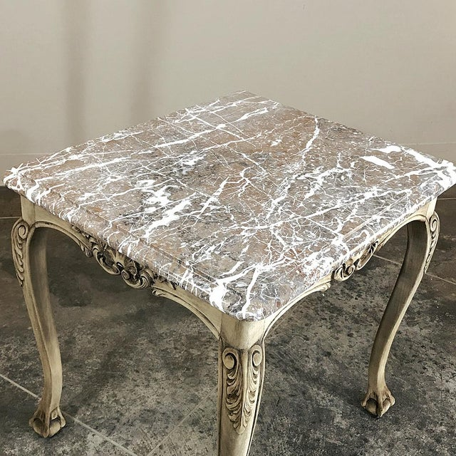 Gray Antique Regence Marble Top Stripped Walnut Occasional Table For Sale - Image 8 of 10