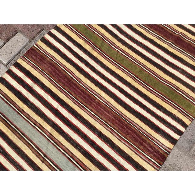 Vintage Striped Turkish Kilim Runner Rug For Sale - Image 4 of 9