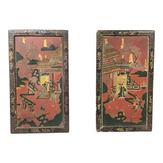 Pair of 18th Century Chinise Chinoiserie Coramandel Panels For Sale