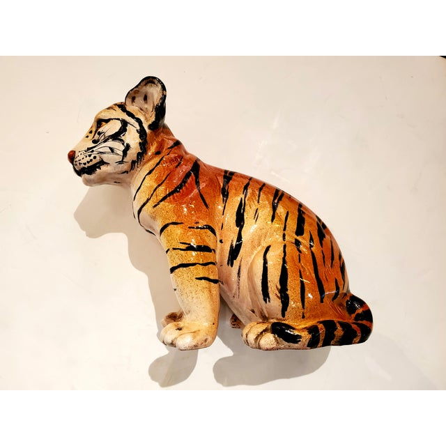 Orange Italian Ceramic Tiger Cub Sculpture For Sale - Image 8 of 10