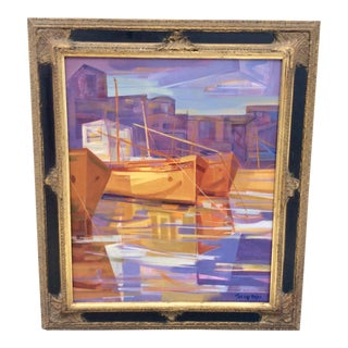 "Original ""Port Scene"" Oil Painting on Canvas by Raul Torres Rojas For Sale"