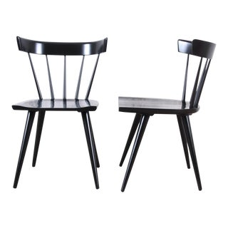 Paul McCobb Planner Group Mid-Century Modern Black Lacquered Spindle Back Dining Chairs, Pair For Sale