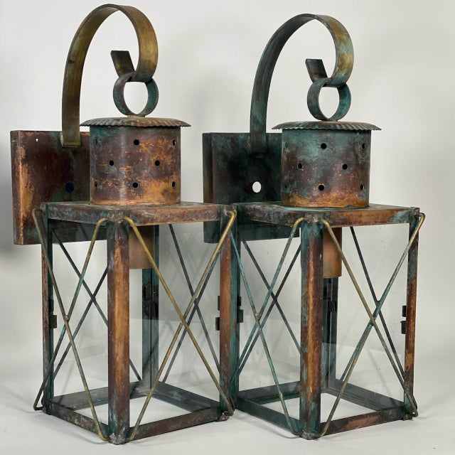 American Solid Copper Custom-Made Outdoor Wall Lanterns by Genie House, Set of 4 For Sale - Image 3 of 13