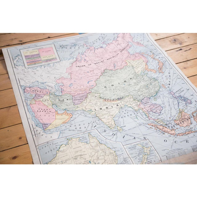 Hard to come by vintage 1937 edition Cram's classroom pull down map of Asia and Australia. Poor condition on this map,...