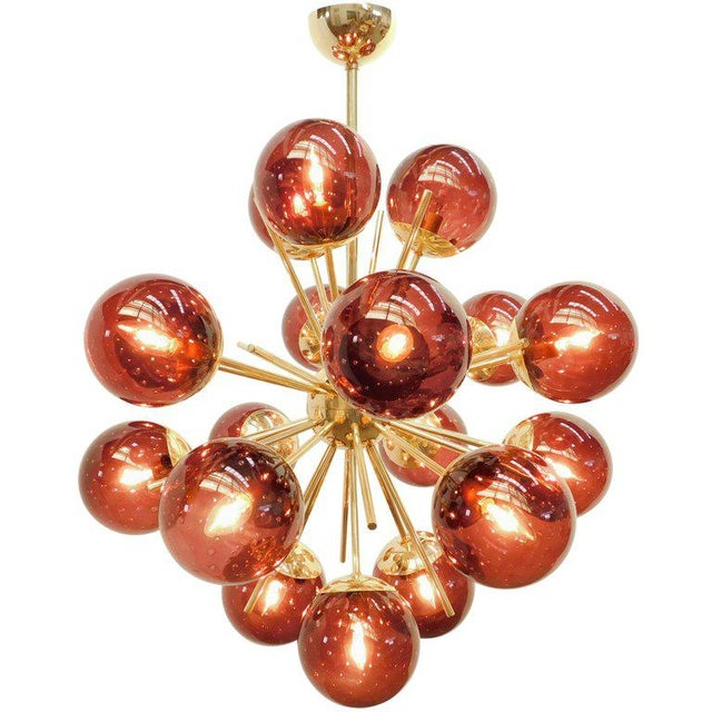 Italian chandelier shown in 18 amethyst Murano glass globes with carefully blown bubbles within the glass using Bollicine...