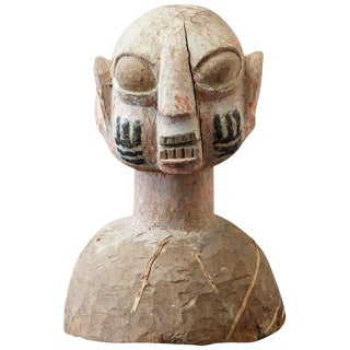 Wooden Head of a Wife of an Ooni of Ile-Ife, Yoruba People, Nigeria, Circa 1930s For Sale