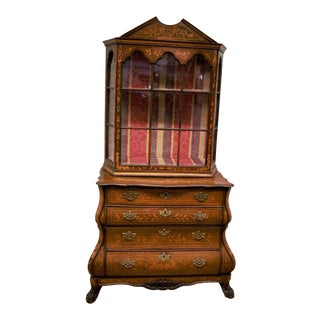 Antique Dutch Marquetry Bookcase/Display Cabinet For Sale