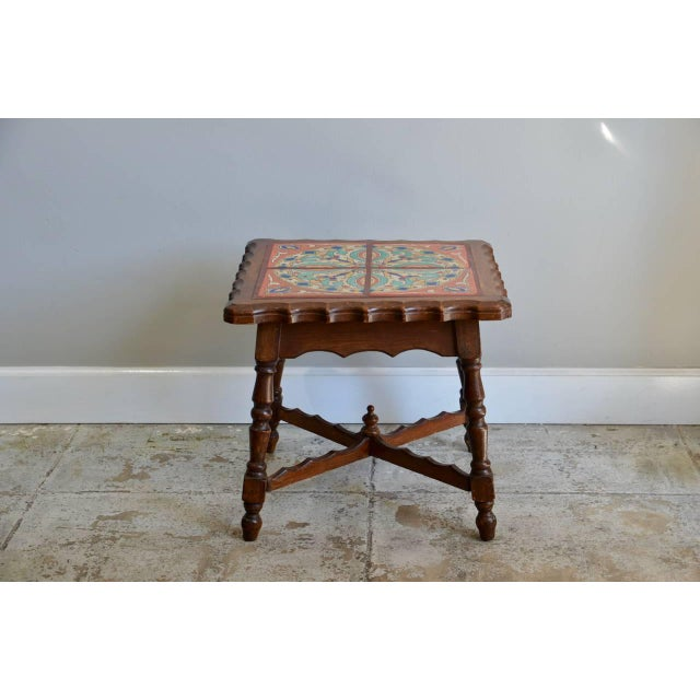 Intact Catalina Tile and Oak Side Table For Sale In Los Angeles - Image 6 of 7