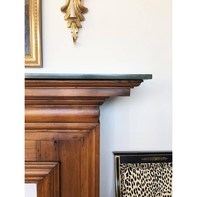 Antique Mahogany Fireplace Mantel With Green Marble Top For Sale In Dallas - Image 6 of 9