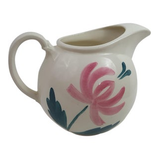 White Ball Pitcher With Pink Floral Motif
