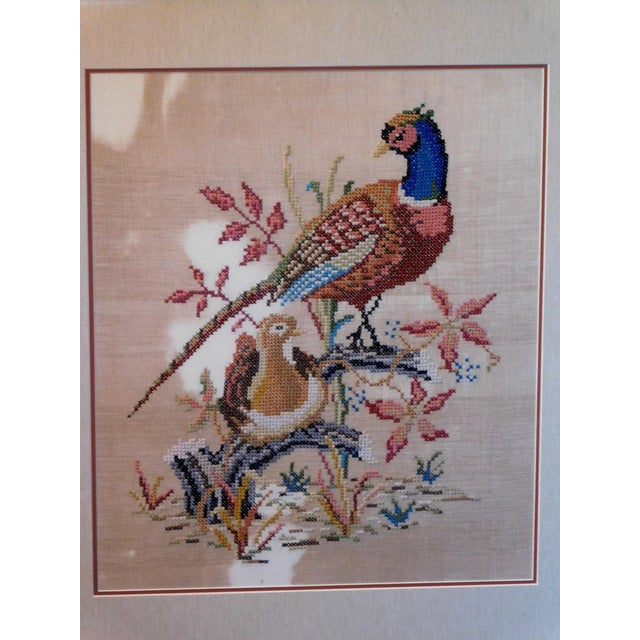 Rustic Late 20th Century Embroidered Needlepoint of a Pheasant, Framed For Sale - Image 3 of 6