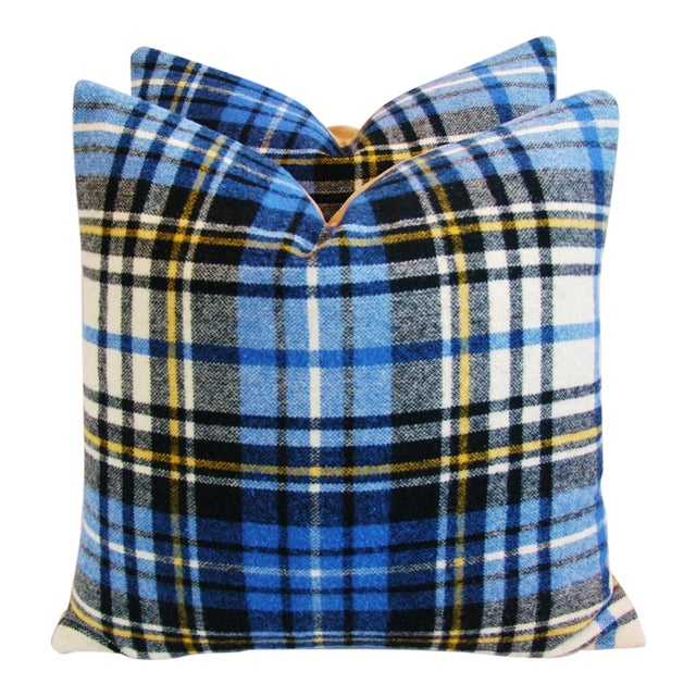 Blue Scottish Tartan Plaid Wool Pillows - A Pair - Image 1 of 10
