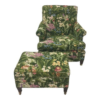 "1990s Vintage ""Spring Is in the Air"" Upholstered Club Chair and Ottoman Set For Sale"