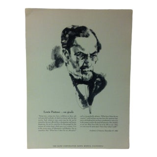"""1962 """"Louis Pasteur - on Goals"""" The Rand Corporation Famous People in History Print For Sale"""