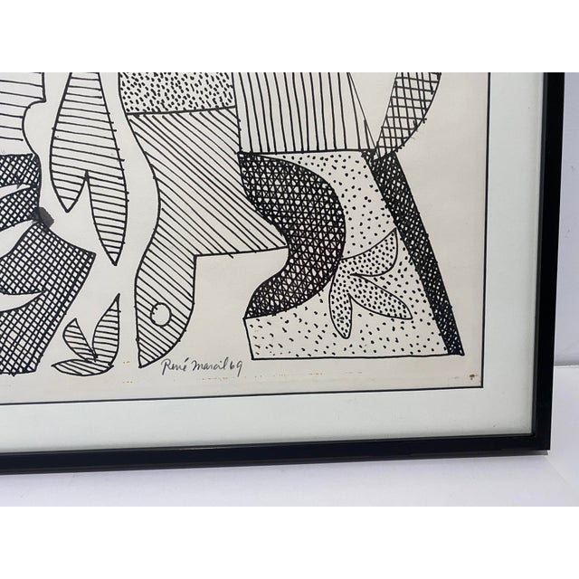 Mid-Century Modern Mid-Century Modern 1969 Series III Pen-Ink Abstract Painting by Listed Artist Rene Marcel Gruslin For Sale - Image 3 of 12