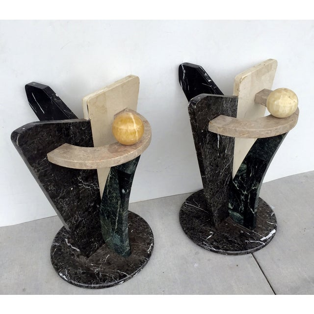 Multicolored Marble/Stone Side Tables - Pair - Image 5 of 7