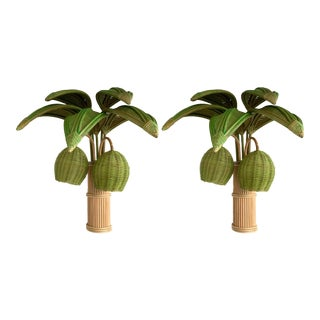 1980s Mid 20th Century Rattan Palm Tree Sconces, France - a Pair For Sale