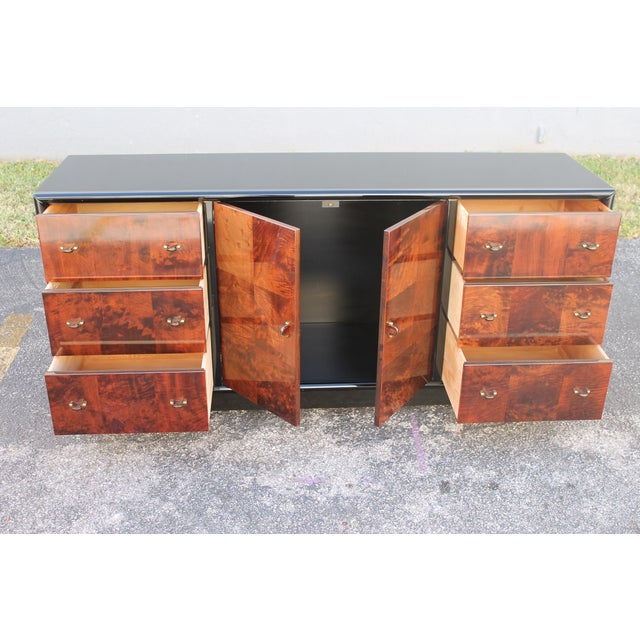 Art Deco Black Lacquer & Burlwood Buffet by Henredon For Sale - Image 10 of 11