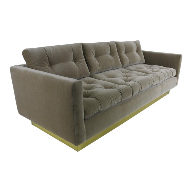 Tufted Sofa with Brass Base by Milo Baughman For Sale