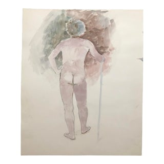 Standing Female Nude Watercolor by Myra Kyle 1980s For Sale