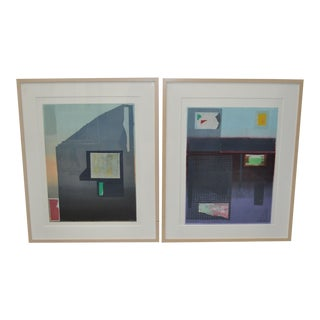 "Robert Inman Pair of ""California & Osaka"" Lithographs C.1990s For Sale"