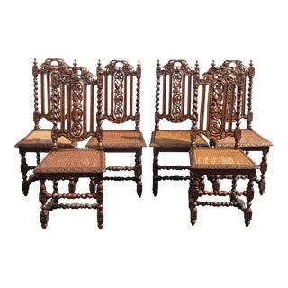 Set of Six Antique Spanish Style Barley Twist Ornate Carved Cane Dining Chairs For Sale