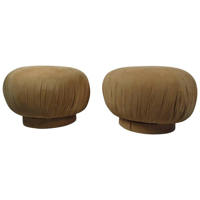 """Karl Springer Style """"souffle"""" Poufs - a Pair - Image 6 of 6"""