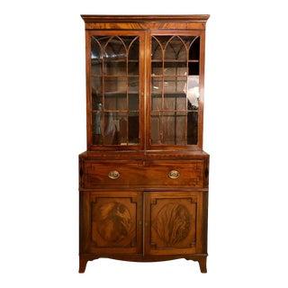 George III Style Mahogany Secretaire Bookcase Flame Mahogany With Ebony Inlay For Sale