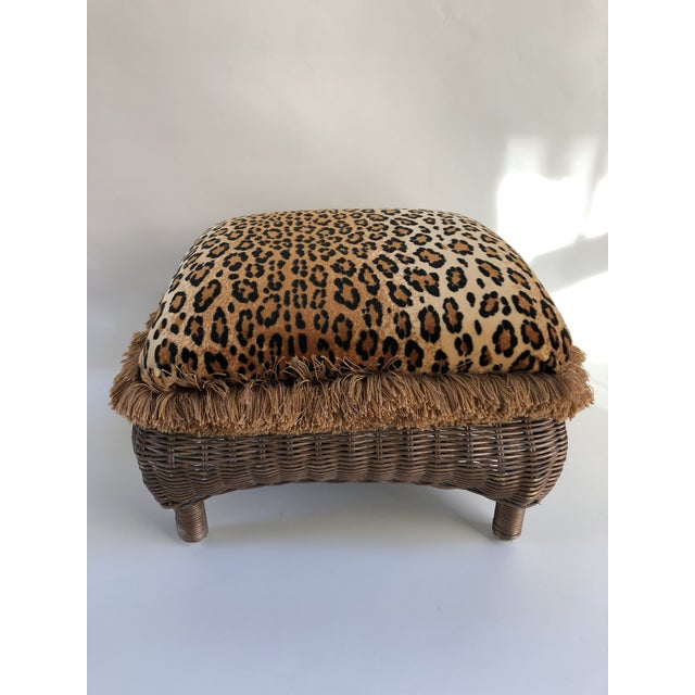 Gold Vintage Boho Chic Hollywood Glam Fringed Wicker Leopard Stool For Sale - Image 8 of 8