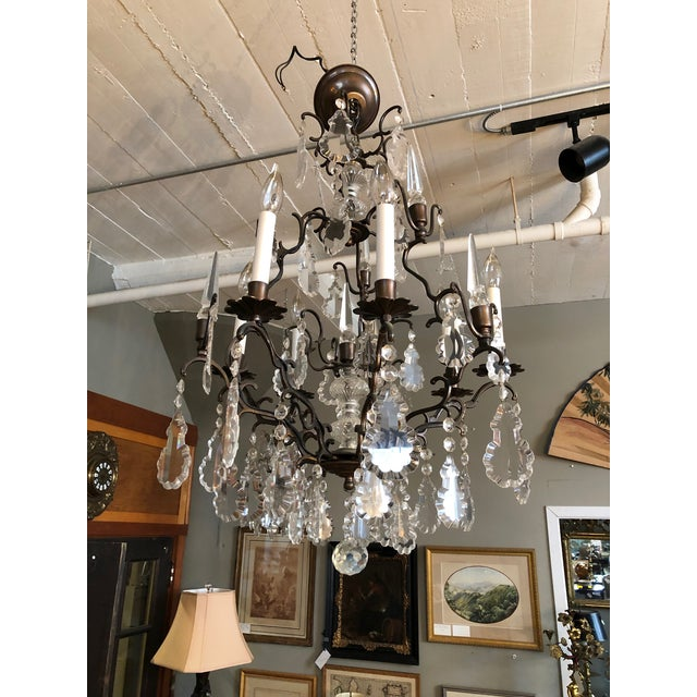 Brown Large Vintage Marie Therese Multi Tier Chandelier For Sale - Image 8 of 11