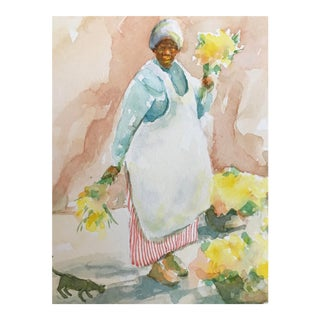 Painting of Charleston Flower Lady, by Alice Scott For Sale
