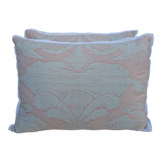 Pink and White Fortuny Pillows - a Pair