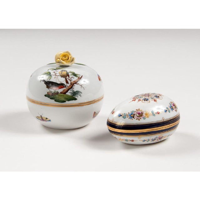 Art Deco Meissen & Herend Continental Porcelain Boxes - A Pair For Sale - Image 3 of 3
