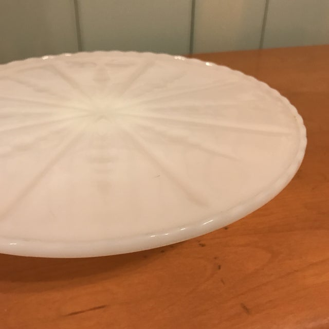 1970s White Milk Glass Cake Stand For Sale - Image 5 of 11