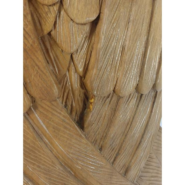 Brown Superb Vintage Life Size 34 in Tall Golden Eagle Statue Hand Carved From One Piece of Wood For Sale - Image 8 of 13