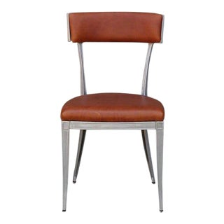 Vintage Mid Century Neoclassical Aluminum and Brown Leather Dining Chairs- Set of 4 Preview