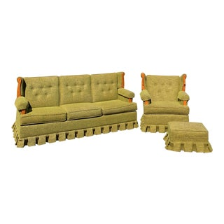 Early American Colonial Revival Furniture 1960s Green Sofa Set For Sale