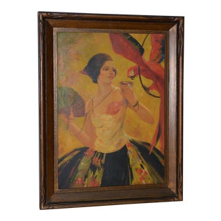 "1920s Art Deco ""Lady With a Red Macaw"" Original Oil Painting For Sale"