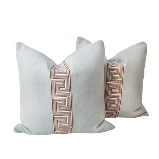 Light Turquoise and Taupe Greek Key Pillows, a Pair For Sale