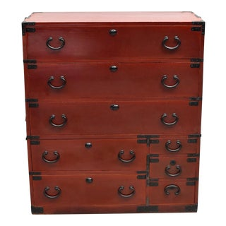 Vintage Meiji Japanese Tansu Chest of Drawers With Black Iron Hardware and Key