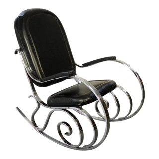 1980s Modern Chrome Rocking Chair For Sale