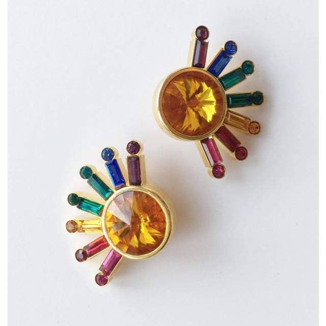 Art Deco 1980's Pop Art Rainbow Sunburst Earrings - a Pair For Sale - Image 3 of 5