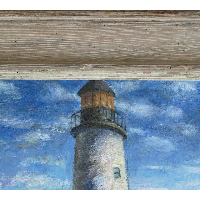 Canvas Contemporary Samuel Brecher Oil Painting of Pemaquid Lighthouse E Boothbay, Me For Sale - Image 7 of 10