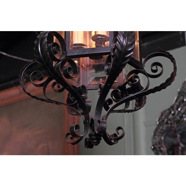 French Early 20th Century French Black Four-Light Iron Lantern With Beveled Glass For Sale - Image 3 of 10