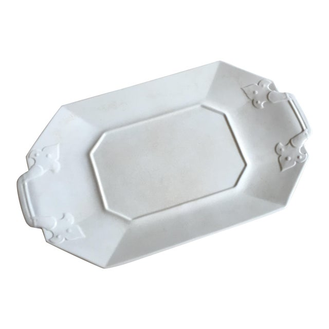 Crackled White Serving Tray For Sale