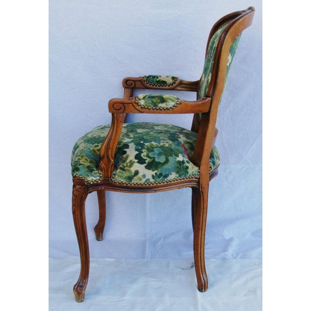 Scalamandre Marly Velvet Tapestry Fabric Walnut Armchair For Sale - Image 10 of 11