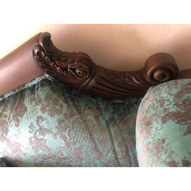 Turquoise Vintage Mid Century Wooden Solid Teakwood Sofa Set- 2 Pieces For Sale - Image 8 of 9